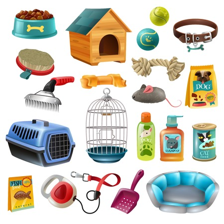 preserved: Isolated pet care accessory images set with wooden kennel dog-lead toys brushes and preserved food vector illustration Illustration