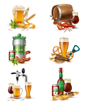 brewers: Tap beer in nonic glass tubs compositions set with brewers cask raw malt snacks and fish vector illustration