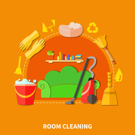 Colorful background with living room furniture and cleaning tools flat decorative icons and silhouette signs composition vector illustration Illustration