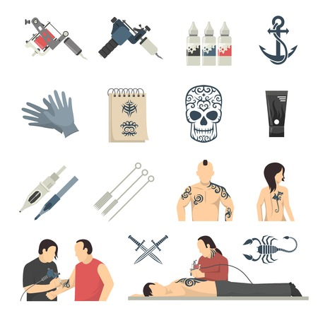 sterilized: Tattoo studio designs equipment and procedures with artist using electric machine flat icons collection isolated vector illustration