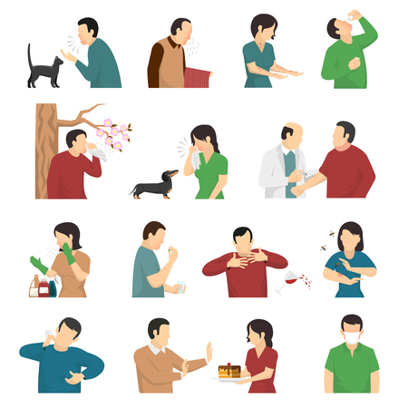 allergens: Symptoms and causes of allergic reaction flat icons collection with food dust dog and cats allergens vector illustration