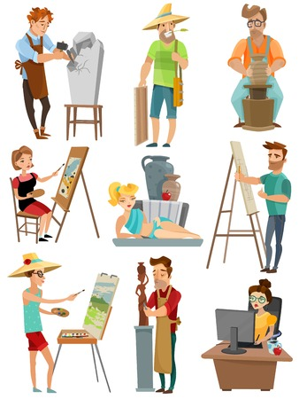 Artist cartoon set met poeple en schilderij geïsoleerde vector illustratie