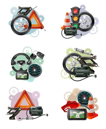 levelling: Car repair and maintenance symbol compositions set with wheels hand screws levelling jacks traffic lights barriers vector illustration