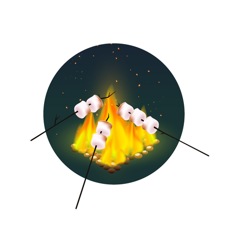 Round design with roasting of marshmallows on bonfire in evening on white background vector illustration Illustration