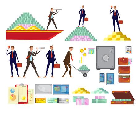 Ensemble d'images de dessins animés de la richesse financière des personnages isolés commis pyramides de caisse coffres et valises illustration vectorielle