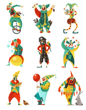 Funny circus clowns isolated decorative icons set in color with trick cycle pirate costume and balloon vector illustration