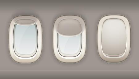 Drie realistische patrijspoorten vliegtuig van wit plastiek met de open en gesloten vectorillustratie van vensterschaduwen