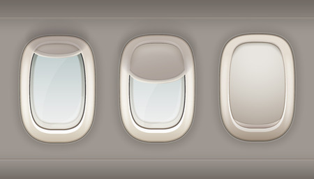 portholes: Three realistic portholes of airplane from white plastic with open and closed window shades vector illustration