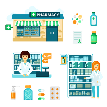 medications: Colored and isolated pharmacy icon set with drugstore facade showcase with medications and pharmacist vector illustration