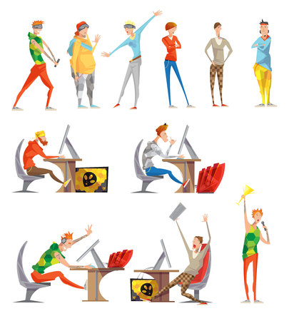 Esports gaming competitive cybersports and facilitated by electronic computer systems sport flat icons collection isolated vector illustration Illustration