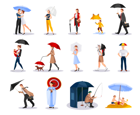men and women: Collection of people with umbrellas of various shape including kids men and women isolated vector illustration Illustration
