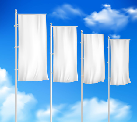 outdoor event: Four white blank pole flags set template for outdoor decor sale event advertisement sky background vector illustration