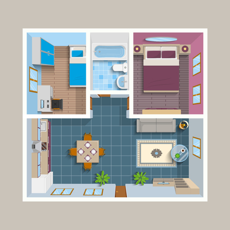view icon: Flat architectural plan top view position with divided rooms and furniture vector illustration Illustration