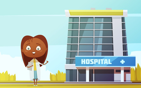 Cute female doctor slim abstract figurine at city hospital building background flat cartoon  vector llustration Illustration