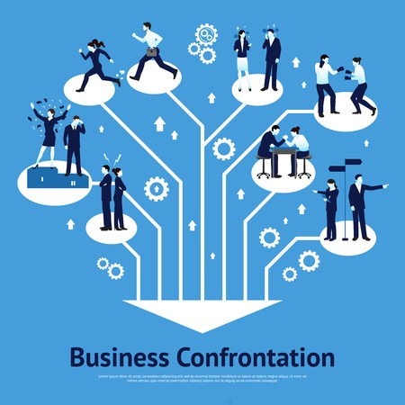 constructive: Constructive business confrontations for succeessful common goals and profitable solutions flat graphic design poster abstract vector illustration