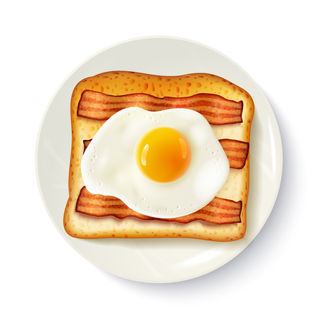 golden egg: American breakfast food top view realistic image of toasted bread  fried egg and bacon on plate vector illustration