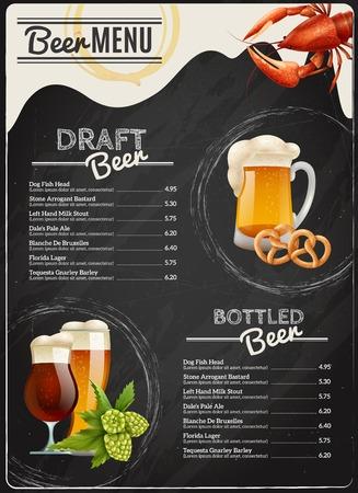 beverage menu: Beer chalkboard menu with different types of beverage lobster mug pretzel hop and glasses vector illustration Illustration