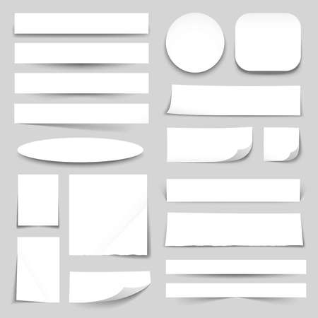 curled edges: White blank paper strips circle oval square rectangles with curled edges realistic banners collection isolated vector illustration