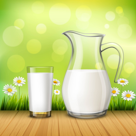 Rustic design concept in realistic style with jug and glass of milk on wood table at green background with chamomiles vector illustration Illustration