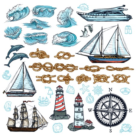 vector set: Marine sketch set of ship boat rope knots lighthouses waves sea animals compass isolated vector illustration