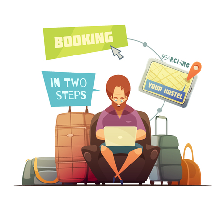 overnight: Hostel booking design concept with cartoon hipster busy online searching of guest house flat vector illustration