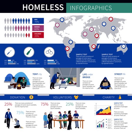homeless: Homeless infographics with statistic of proportion growth of homeless men women and children in world society flat vector illustration