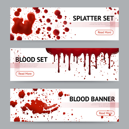 Blood splatters sets realistic 3 horizontal banners webpage design with read more button grey background isolated vector illustration Ilustração Vetorial
