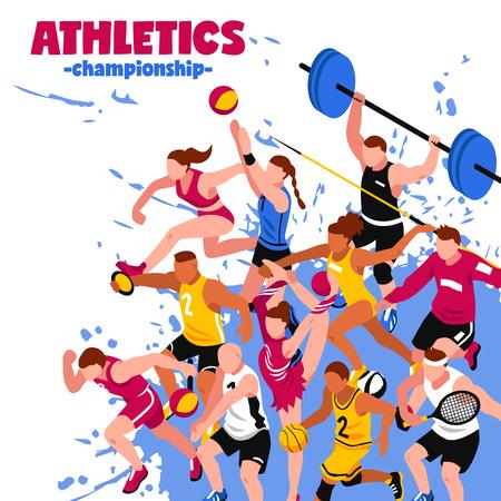 lanzamiento de jabalina: cartel colorido deporte isométrica con los jugadores de los deportistas y atletas activos en el fondo salpicaduras ilustración vectorial