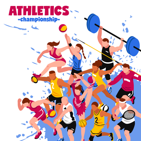 Kolorowy plakat izometryczny sportu z aktywnymi graczami sportowców i sportowców na powitalnym tle ilustracji wektorowych