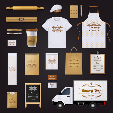 Homemade quality bakery shop corporate identity template with bread and cake packages design black background realistic vector illustration
