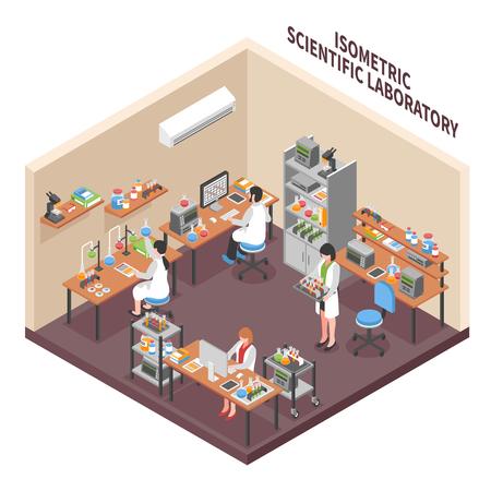 Het laboratoriumsamenstelling van wetenschappers met de isometrische binnenarbeiders van de onderzoekfaciliteit in werkend togamateriaal en de vectorillustratie van het werkplaatsmeubilair