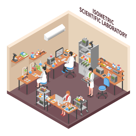 Scientists laboratory composition with isometric research facility interior workers in operating gowns equipment and workplace furniture vector illustration
