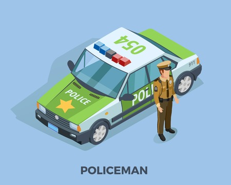 gun control: Police profession isometric template with policeman in uniform standing near car isolated vector illustration Illustration