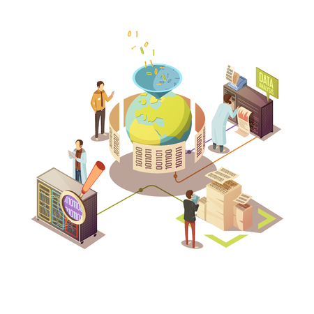 filtering: Isometric design with search and processing of global information staff and computer equipment vector illustration Illustration