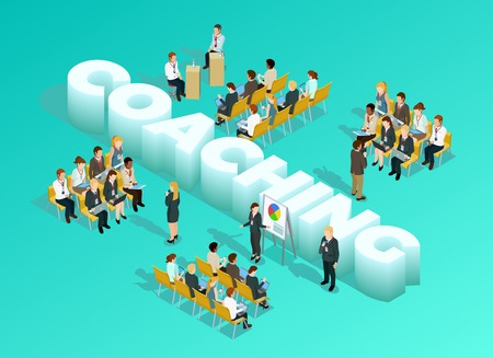 Business education isometric template with 3d coaching inscription presentation meeting staff training and learning isolated vector illustration