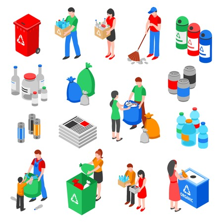 Garbage and plastic recycling isolated images set with isometric rubbish containers trash bins and people characters vector illustration Illustration
