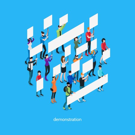 Demonstration isometric template with group of people holding placards and signboards isolated vector illustration