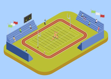 University sport complex american football stadium with public fans and cheerleaders performance isometric view poster vector Ilustration Ilustração