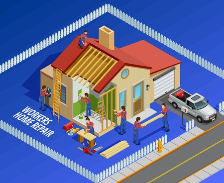 restoration: Repair works isometric template with house workers and different maintenance restoration on blue background vector illustration Illustration