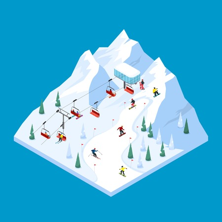 Ski lift isometric tiled landscape design with scaled down snowy mountain piste with pennants and skiers vector illustration Illustration
