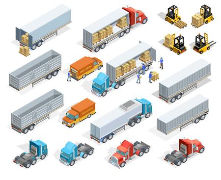 éléments isométriques de transport fixés avec des camions chargés et vides remorques boîtes chariots élévateurs et des travailleurs isolés illustration vectorielle