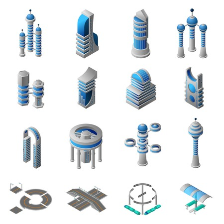 industrial complex: Future city isometric icons set of conceptual building of futuristic construction and architecture isolated vector illustration Illustration