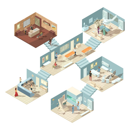patients: Isometric hospital building concept with doctors patients and equipment on white background vector illustration