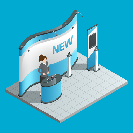 promoter: Exhibition isometric stand with female promoter and ad bilboard vector illustration Illustration