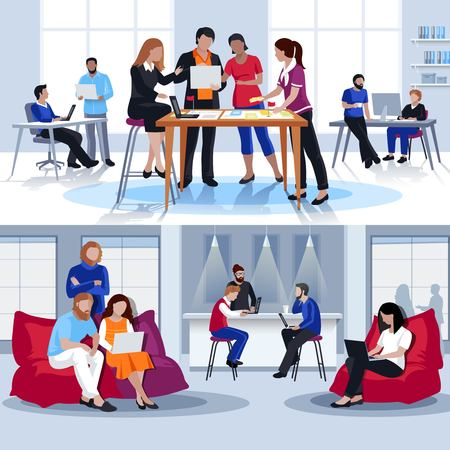 Coworking people flat compositions with group of young creative persons working together and discussing problem vector illustration