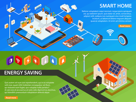 Smart home green energy generating devices and internet of things household 2 isometric banners webpage design vector illustration