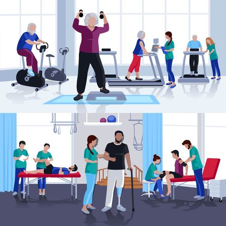 Rehabilitation care and physiotherapy treatments for children and adults 2 flat banners composition poster isolated vector illustration