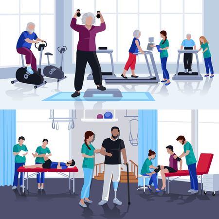 Revalidatie en fysiotherapie behandelingen voor kinderen en volwassenen 2 flatscreen banners samenstelling poster geïsoleerde vector illustratie