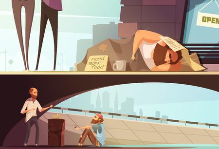 Las personas sin hogar durmiendo con pancartas persona en la calle y los hombres que consiguen caliente bajo ilustración vectorial aislado puente