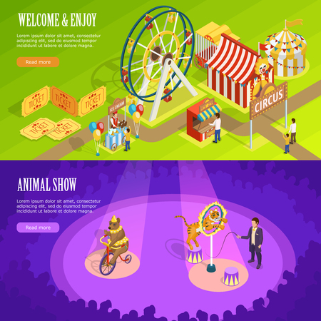 trained: Circus show with trained animals and observation wheel 2 isometric horizontal banners webpage design isolated vector illustration